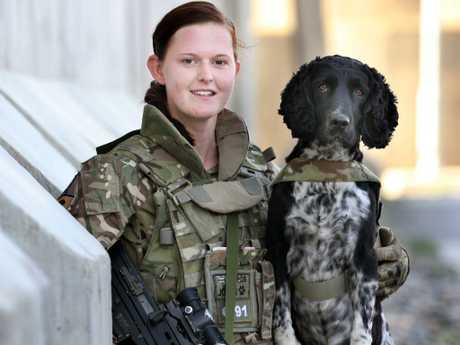 Private Beth Jones, 24, with her English Spring Cross Cocker Spaniel Jasper. Picture: Gary Ramage