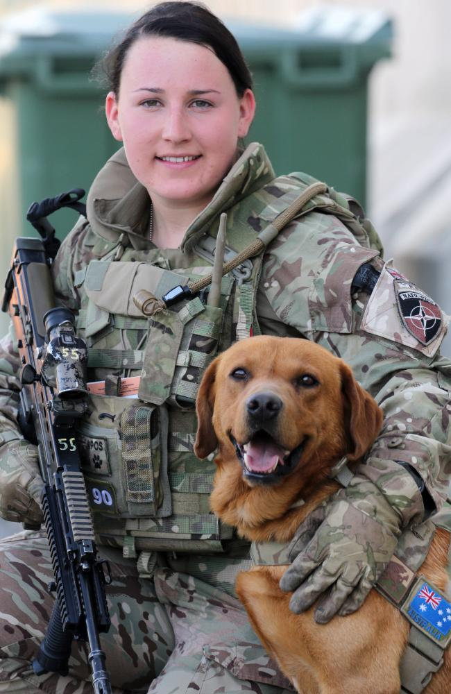 Corporal Carys Evans from West Wales and her 5-year-old Red Fox Labrador Jake. Picture: Gary Ramage