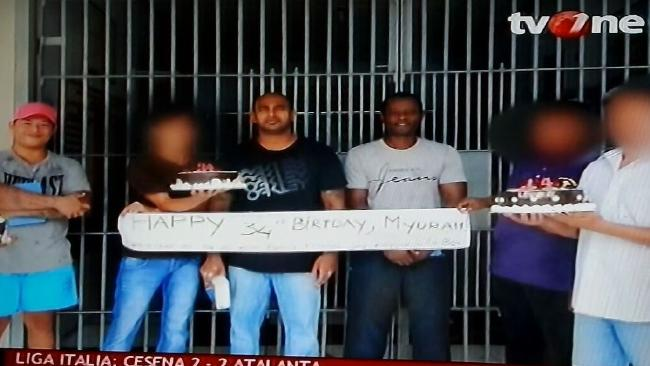 Myuran Sukumaran celebrates his 34th birthday on with inmates on the island 12 days before his execution. Picture: TV One.
