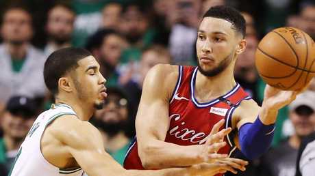 Ben Simmons, right, knows he needs to lift his game. Picture: Getty Images
