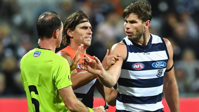 Tom Hawkins is in strife for pushing the arm of umpire Dean Margetts. Picture: Quinn Rooney/Getty Images