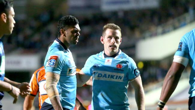 Kurtley Beale and Bernard Foley of the Waratahs react during the Round 12 Super Rugby match between the NSW Waratahs and the Blues at Brookvale Oval in Sydney on Saturday, May 5, 2018. (AAP Image/Jeremy Ng) NO ARCHIVING, EDITORIAL USE ONLY