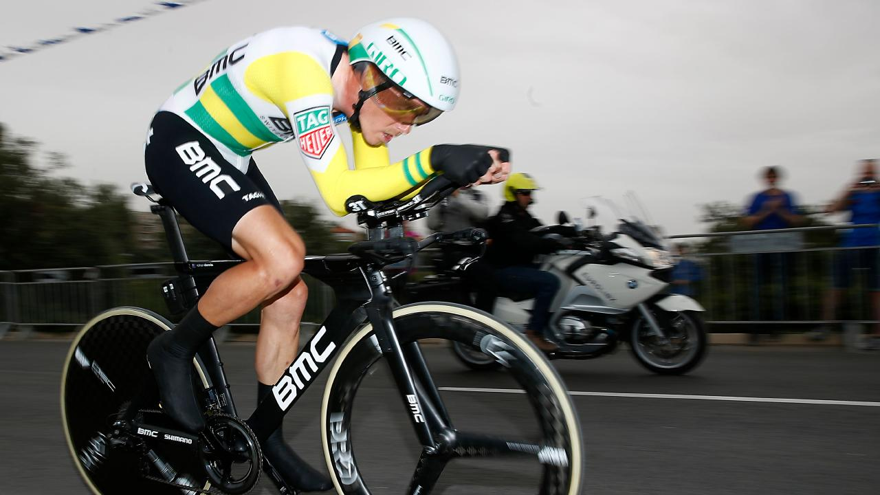 Rohan Dennis in action during the first stage of the 101st Giro d'Italia,  a 9.7km individual time-trial in Jerusalem. Picture:  Luk Benies/AFP