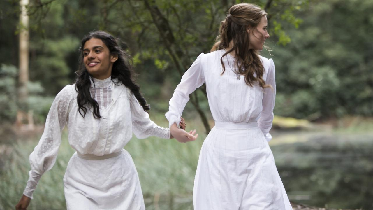 Madeleine Madden and Lily Sullivan in a scene from Foxtel drama series, Picnic At Hanging Rock. Picture: Supplied/Foxtel
