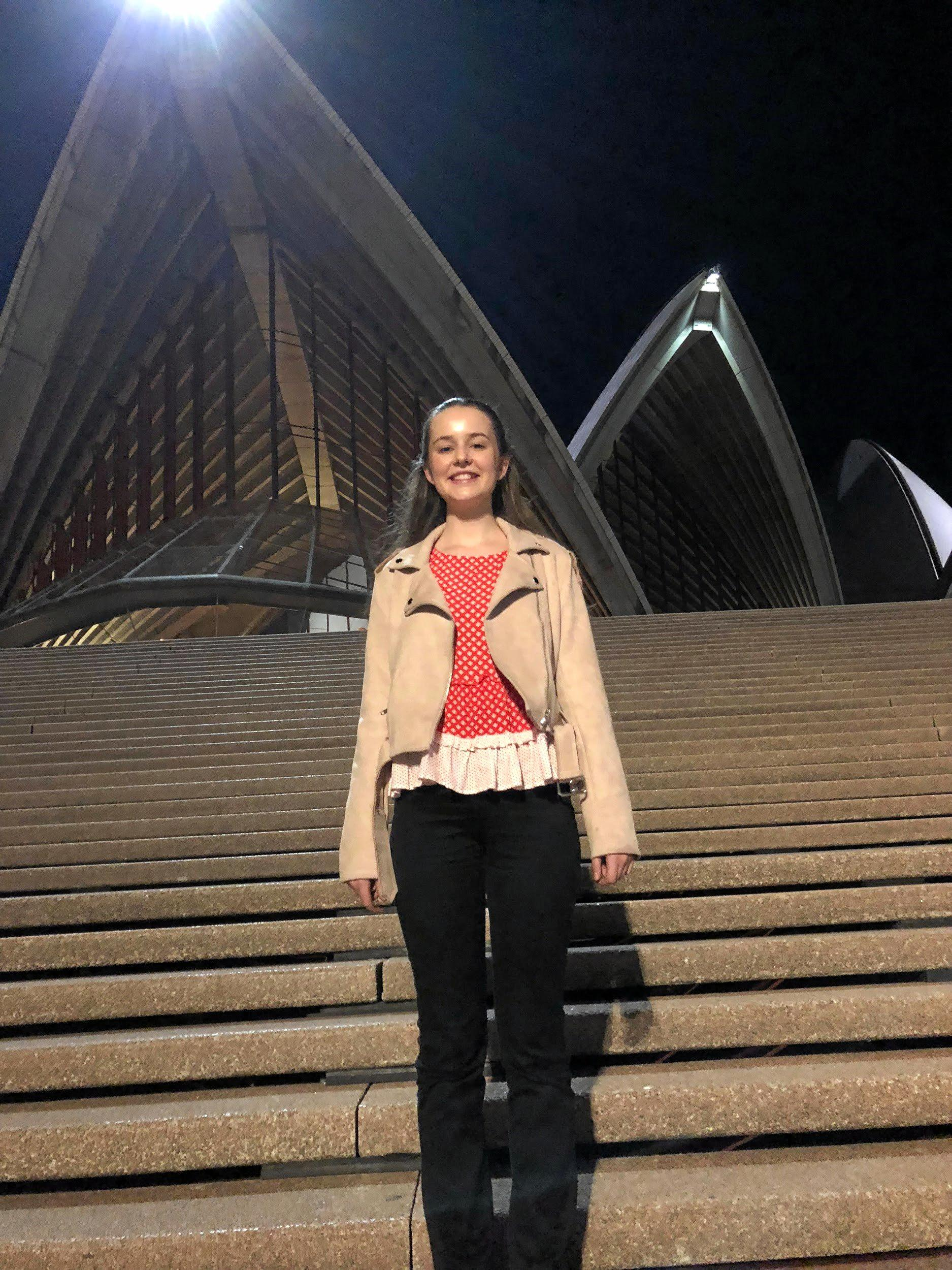 Rose Light was all smiles after playing her violin at the Sydney Opera House.
