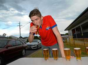 Mount Morgan locals win the traditional beer chugging relay