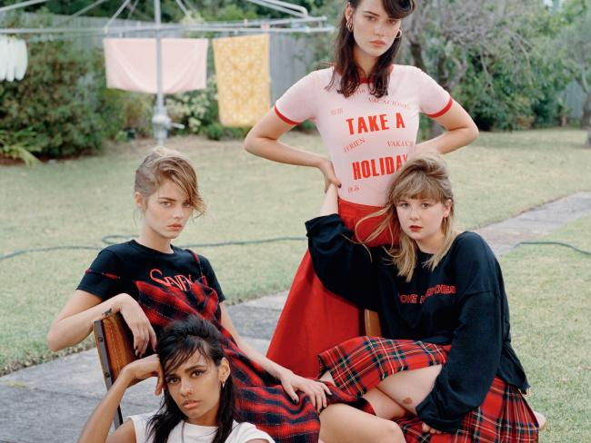 Madeleine Madden, Samara Weaving, Lily Sullivan and Ruby Rees appear in the April issue of Vogue Australia. Picture: Bec Lorrimer for Vogue Australia April issue.