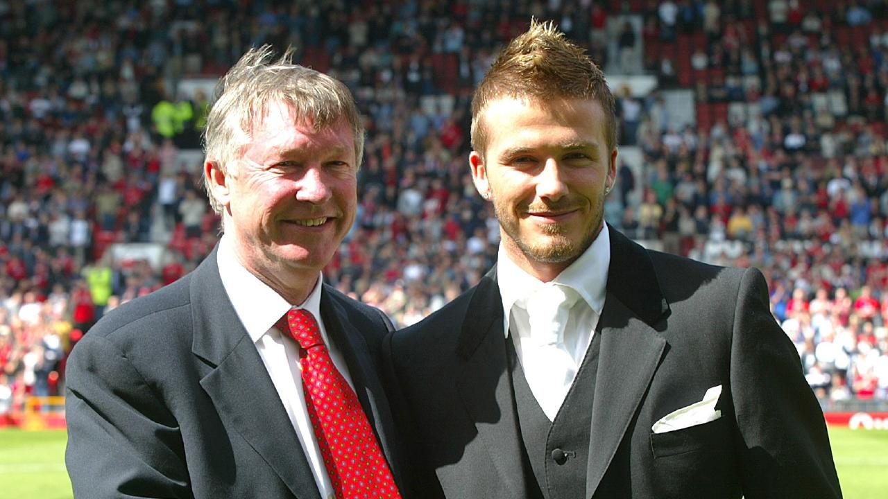 (L-R) Sir Alex Ferguson and David Beckham after Beckham had extended his contract with Manchester United.