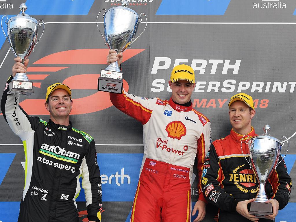 Craig Lowndes (left) and Dave Reynolds filled out the podium. Picture: Getty Images