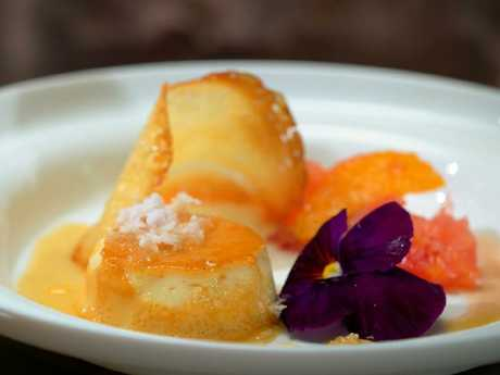 Kim and Suong's 5th Course (45 mins): Coconut Crème Caramel with Citrus Salad