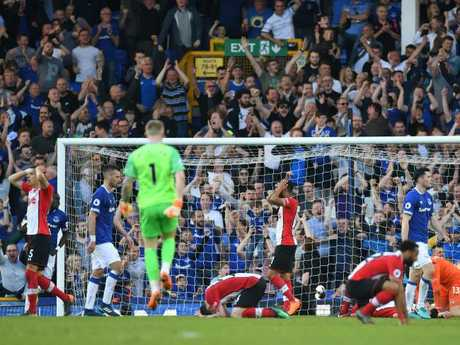 Southampton players react after Davies' equaliser.