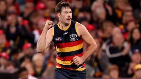 Mitch McGovern celebrates a goal.