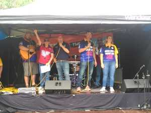Singing at Gladstone Labour Day march