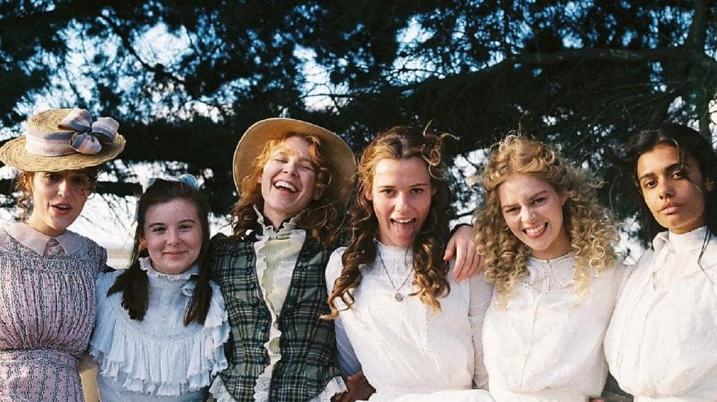 Lola Bessis, Ruby Rees, Anna McGahan, Lily Sullivan, Samara Weaving and Madeleine Madden behind the scenes of Picnic At Hanging Rock.  Picture: @lily_sullivan/Instagram
