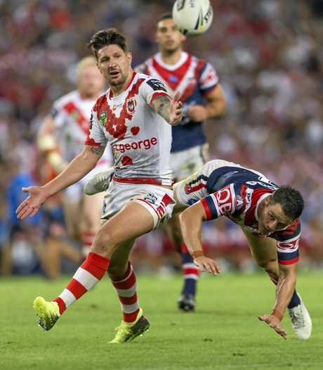 Cooper Cronk of the Roosters is penalised for obstructing Gareth Widdop of the Dragons during the Round 8 NRL match between the St George Illawarra Dragons and the Sydney Roosters at Allianz Stadium in Sydney, Wednesday, April 25, 2018. (AAP Image/Craig Golding) NO ARCHIVING, EDITORIAL USE ONLY