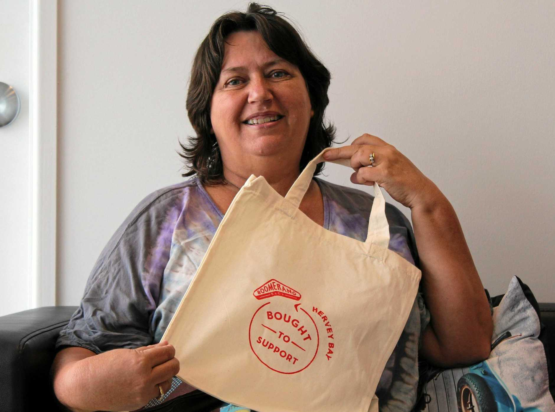 RECYCLING SEWN UP: Boomerang Bags Hervey Bay co-ordinator Jeanine Croxon said the small group of volunteers aim to reduce plastic waste in the Bay.
