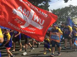 Union marchers call for secure employment