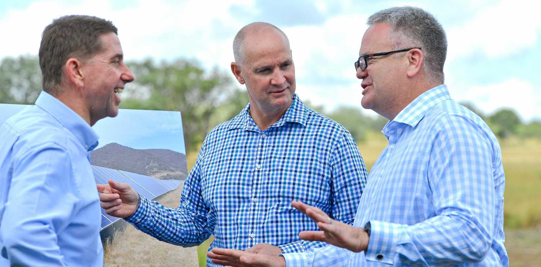 BIG BOOST FOR REGION: Infrastructure and Planning minister Cameron Dick, Member for Gladstone Glenn Butcher with Acciona Energy managing director Brett Wickham in Gladstone last month.