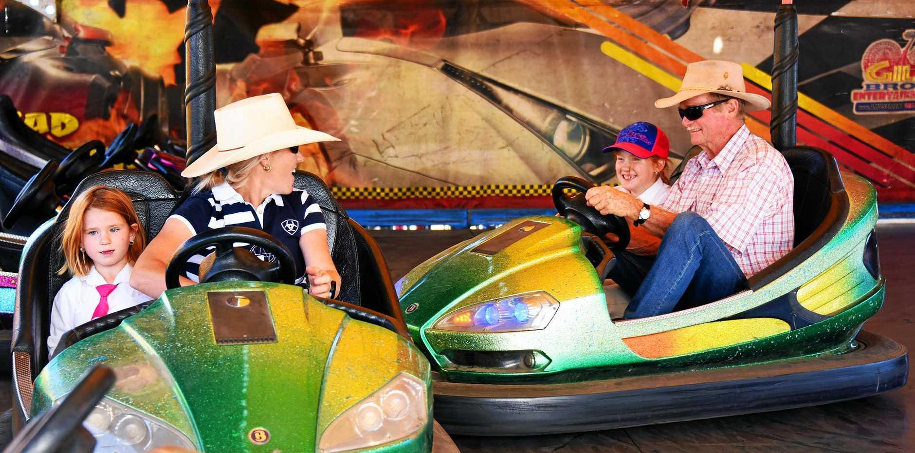 The Harland family enjoy the dodgem cars.