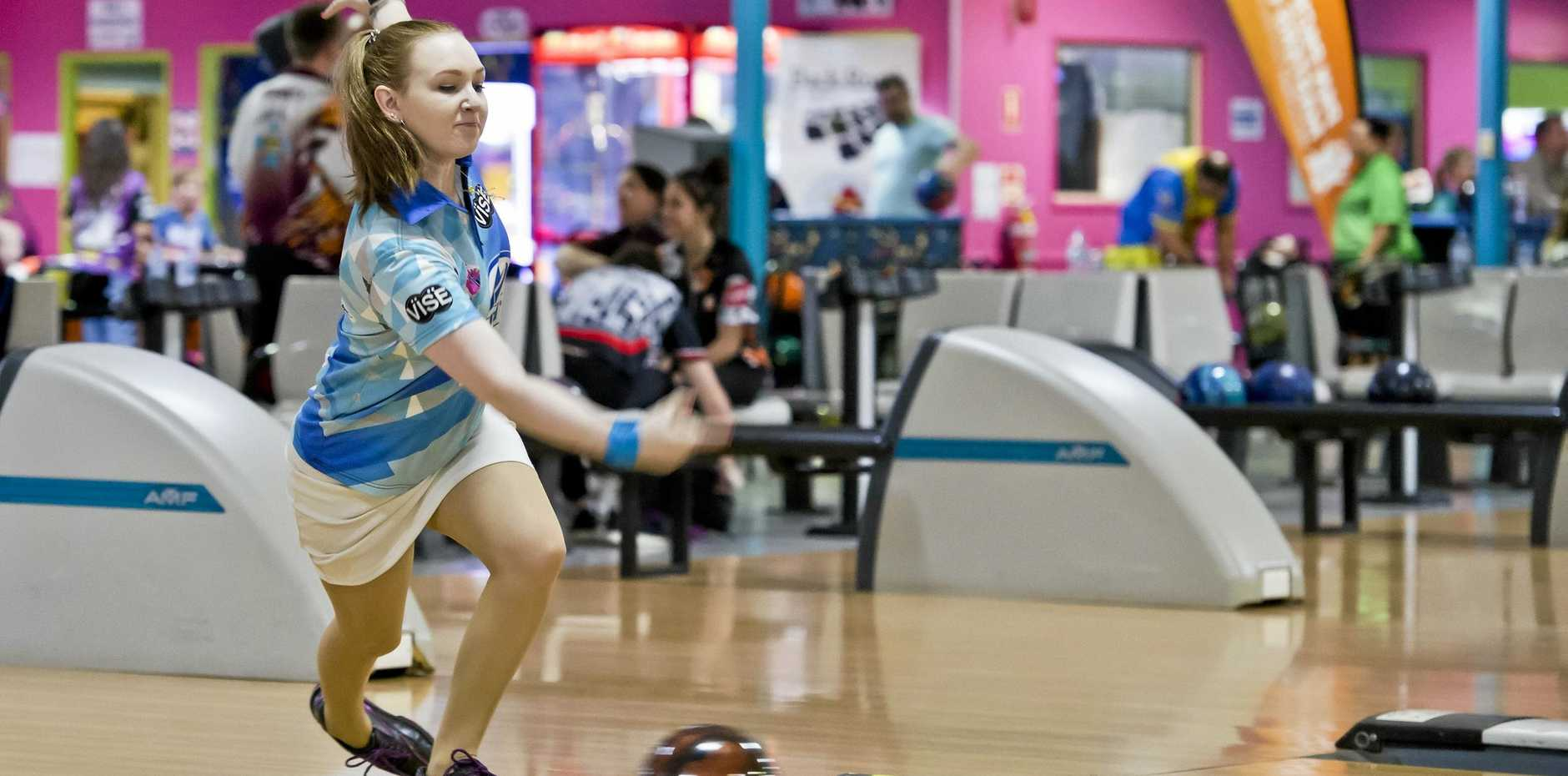 GOOD DELIVERY: Gabrielle Vettiger sends down a bowl during the Tenpin Bowling State Championships at Toowoomba's Sunset Superbowl.