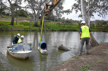 Kevin Graham and Warwick Fish Stocking president Roger Martin helping Andrew Norris, fish biologist, place structure into the Condamine River, Queen's Park.