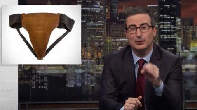 John Oliver announced he purchased Russell Crowe's leather jockstrap in an April episode of the show. Picture: Supplied