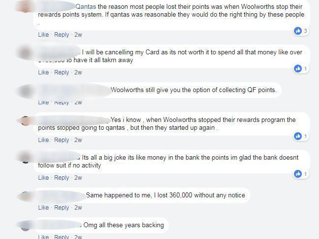 Unhappy Qantas passengers took to the Qantas Facebook page.