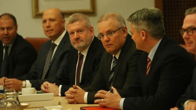 Treasurer Scott Morrison (third from right) at a Cabinet meeting at Parliament House. Picture: Kym Smith
