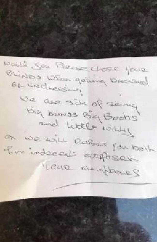The angry note left by the couple's neighbours.