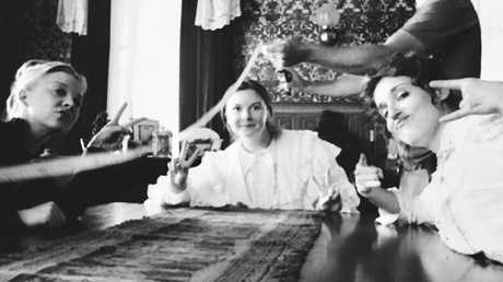 Peace out ... Natalie Dormer, Ruby Rees and Lola Bessis behind the scenes of Picnic at Hanging Rock. Picture: @rubes_rees/Instagram