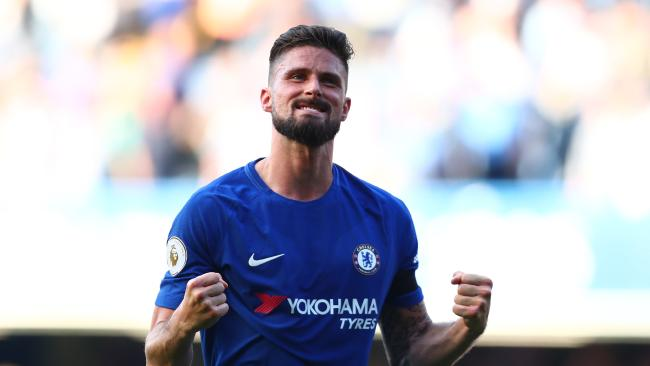 Chelsea's Olivier Giroud celebrates the win over Liverpool.