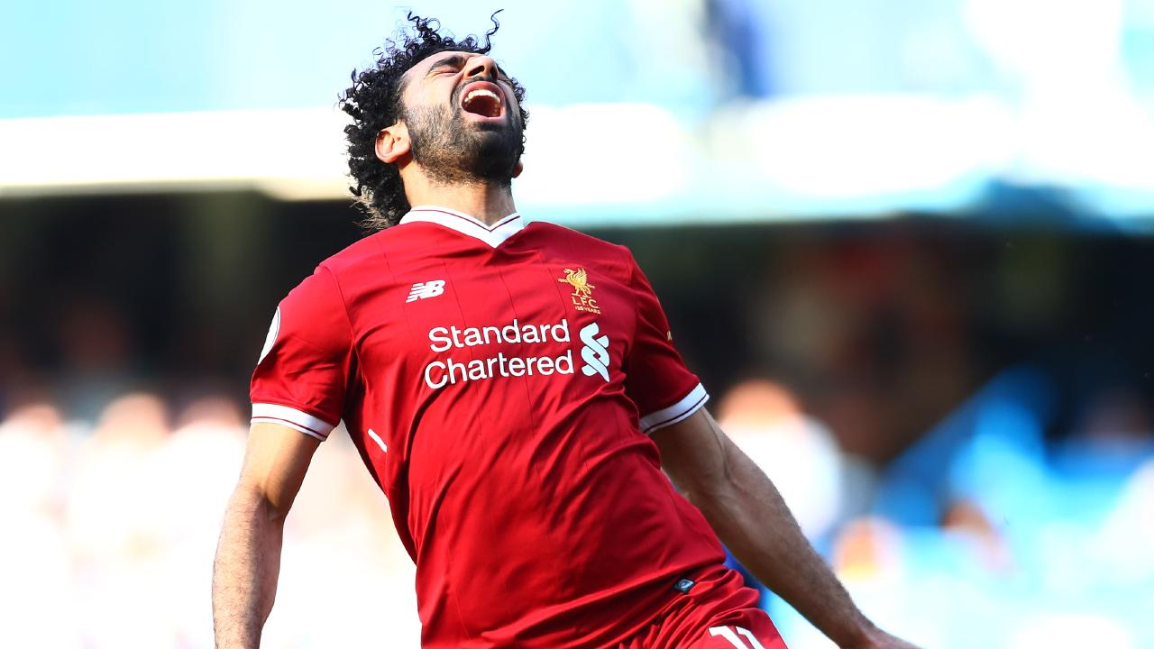 Mohamed Salah of Liverpool reacts during the Premier League match between Chelsea and Liverpool