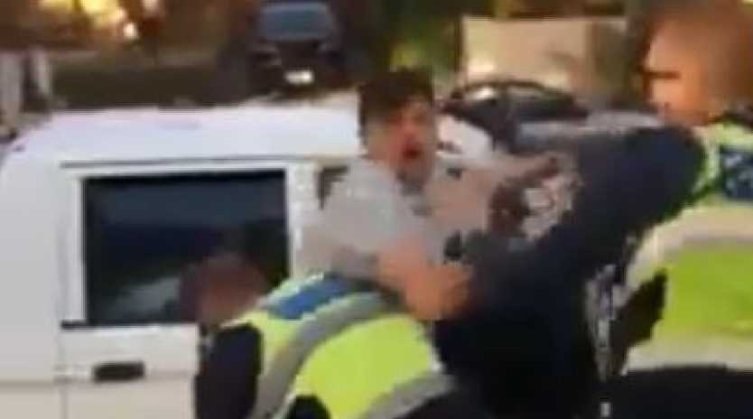 The man is pulled from the van, during the incident in Seaford, Melbourne. Picture: Facebook.