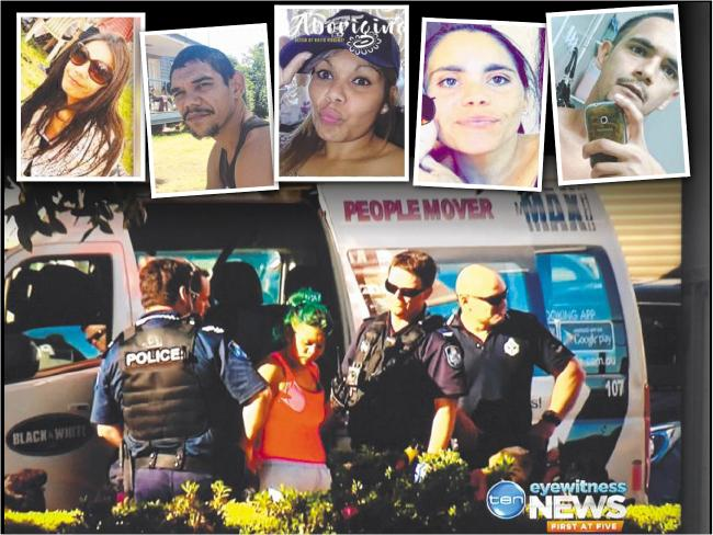 Those charged include (inset from top left) Rhianna Fing, Joshua Lingwoodock, Shiralee Fernando, Christine Hall and Ty Fing; police make arrests yesterday (picture: Channel 10).