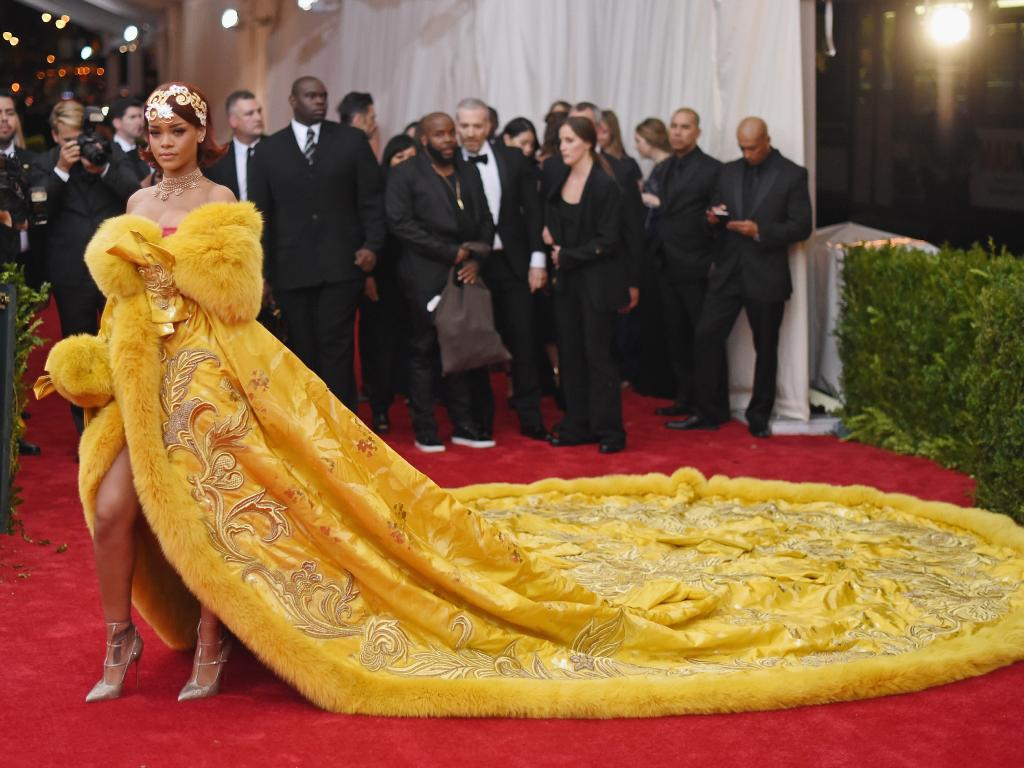 Rihanna's 2015 Met Gala outfit was likened to an omelet on social media. Picture: Mike Coppola/Getty Images)