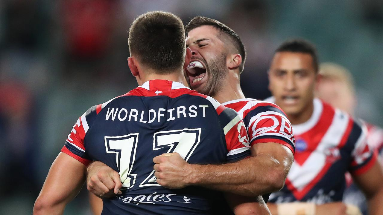 Rooster James Tedesco was pretty happy with the Radley tackle. Picture: Brett Costello