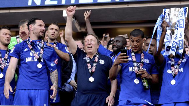 Cardiff City manager Neil Warnock, centre and the Cardiff City players celebrate winning their promotion to the English Premier League