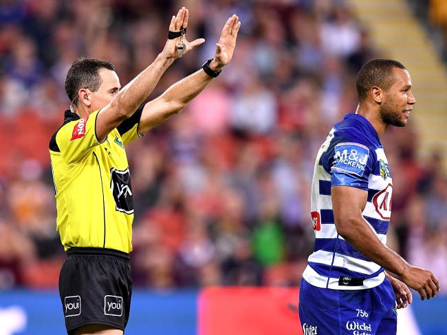 Moses Mbye is sent to the sin bin.