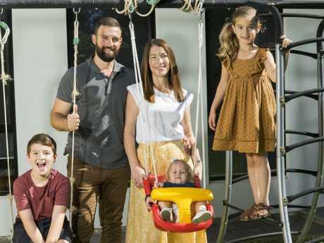 Pietra and Mark Pizzino with children Calel, Ara and Winter. Photo: Nick Clayton