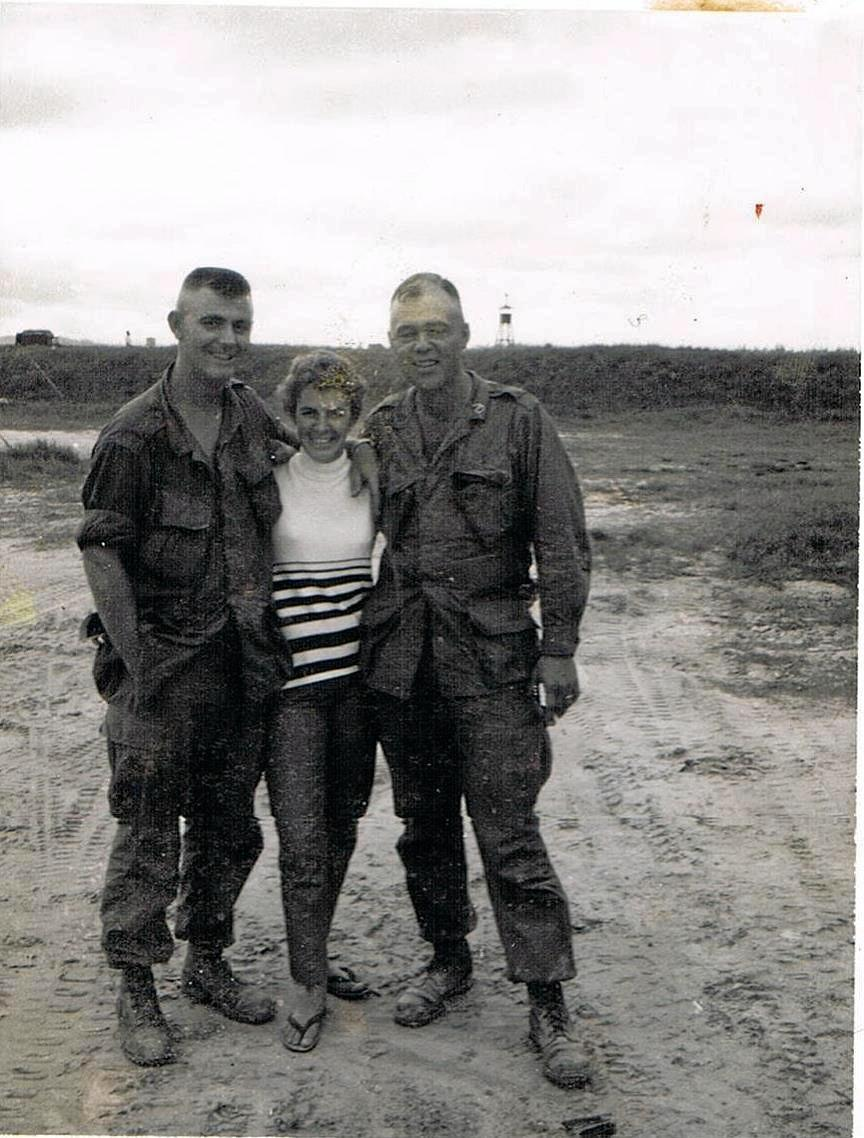 A sizeable difference between Barbara at 160cm and the American soldiers at Phu Bai in April 1967.
