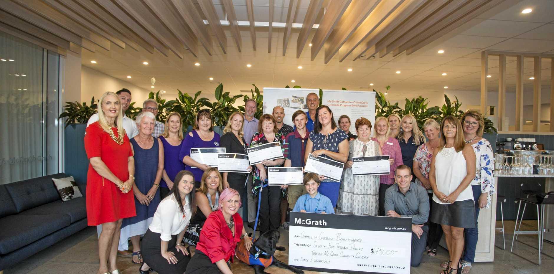 BIG THANKS: The latest recipients of the McGrath Estate Agents Caloundra team's Community Giveback Campaign.
