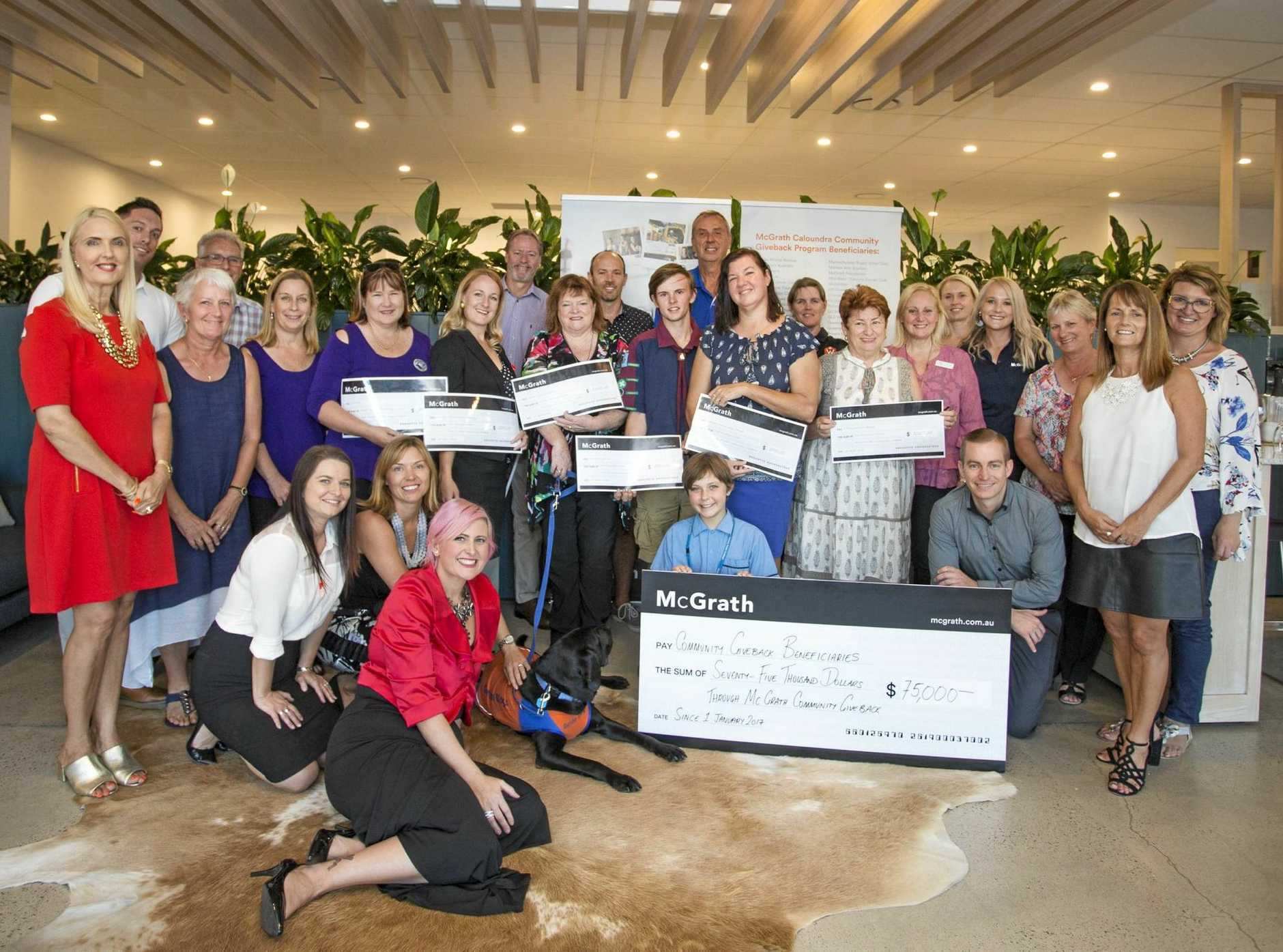 BIG THANKS: The latest recipients of the McGrath Estate Agents Caloundra team's Community Giveback Campaign.