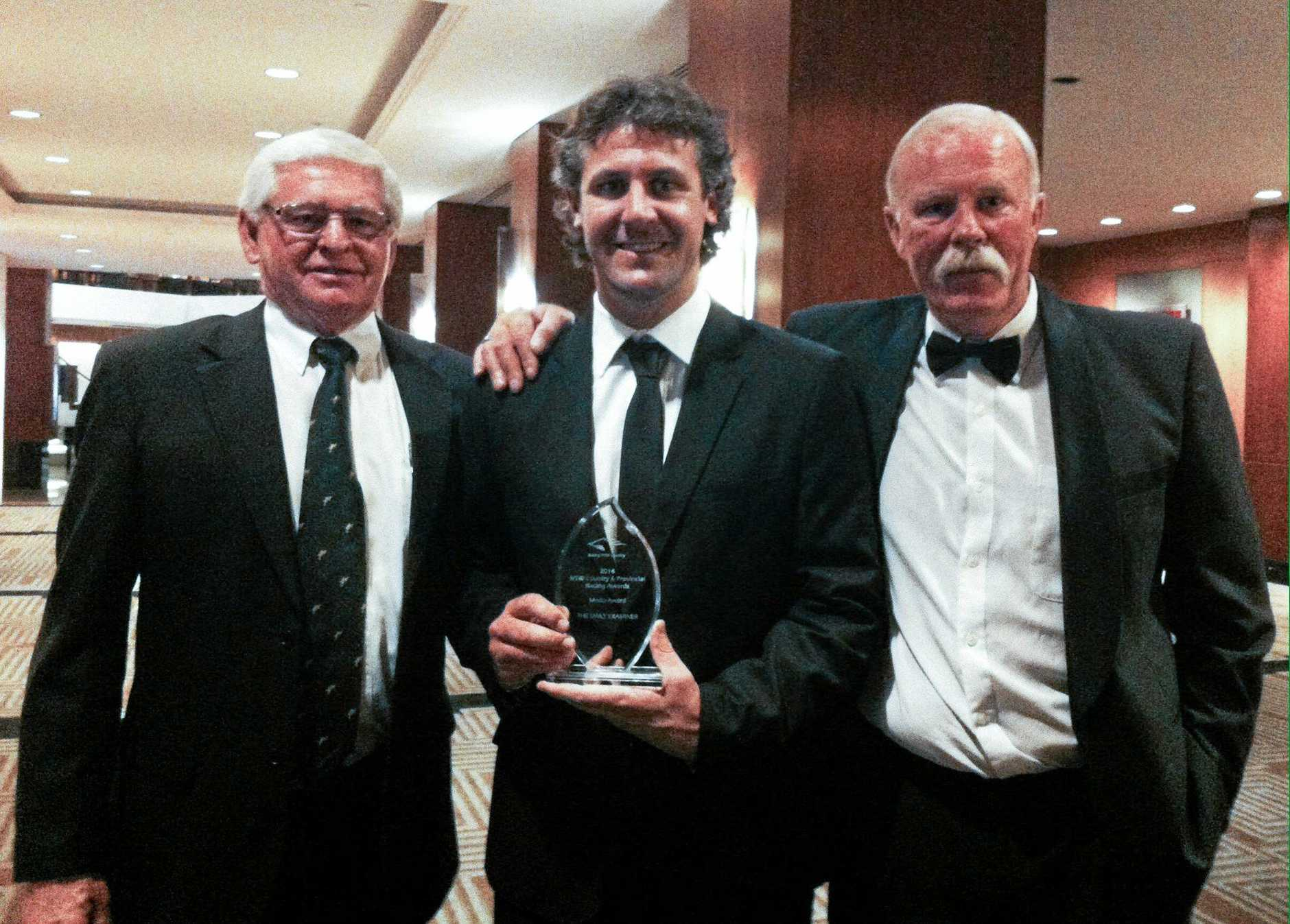 Then Daily Examiner sports editor Bill North (middle) holding the Country Media Award with Clarence River Jockey Club chairman Graeme Green and Racing NSW racing writer Tony White at the Racing NSW 2013/14 Country and Provincial Racing Awards at the Four Seasons Hotel in Sydney in 2014.