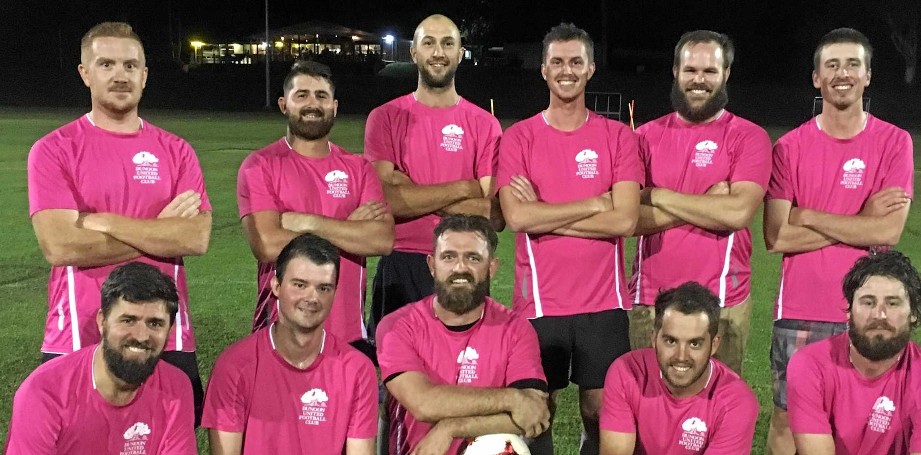 THINK PINK: Members of the Dunoon United second ivision team who will be playing in pink to raise money and awareness for breast cancer at Balzer Park, Dunoon on Saturday.