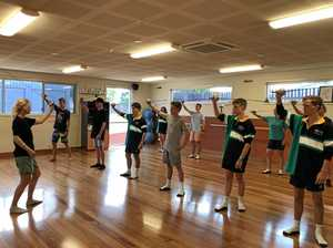 Students learn fencing lessons for The Three Musketeers
