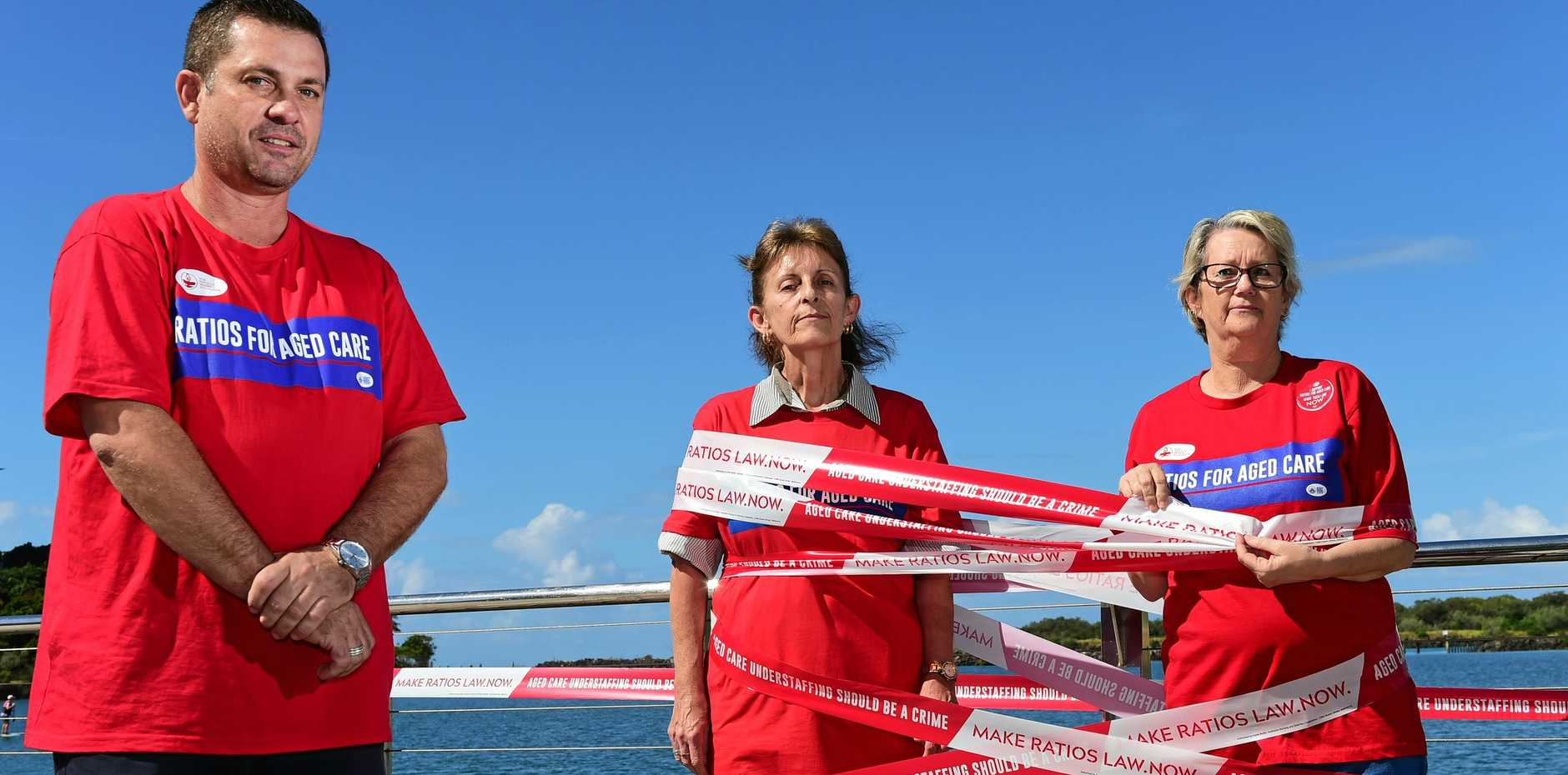Wayne Baxter and aged care nurses Elanor Bilbie and Suzanne Wilson are calling for improved staffing levels in aged care facilities.