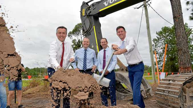 MARK Bailey (far right) was in a happier frame of mind at the turning of the first sod for the $929.3 million Caloundra to Sunshine Motorway upgrade. He's pictured with then Federal Minister for Infrastructure Darren Chester, Fairfax MP, Ted O'Brien, and Fisher MP, Andrew Wallace.