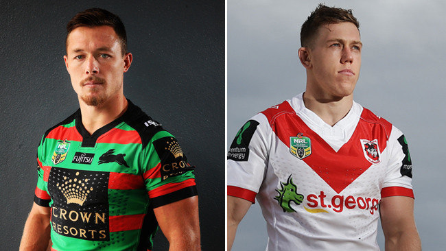 Damien Cook and Cameron McInness will go head-to-head for the NSW No.9 jumper when the Rabbitohs host the Dragons on Sunday.