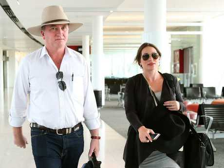 Barnaby Joyce and Vikki Campion at Canberra airport, prior to Sebastian's birth. Picture: Kym Smith