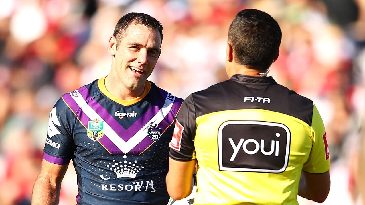 Cameron Smith of the Storm makes his point to referee Matt Cecchin.